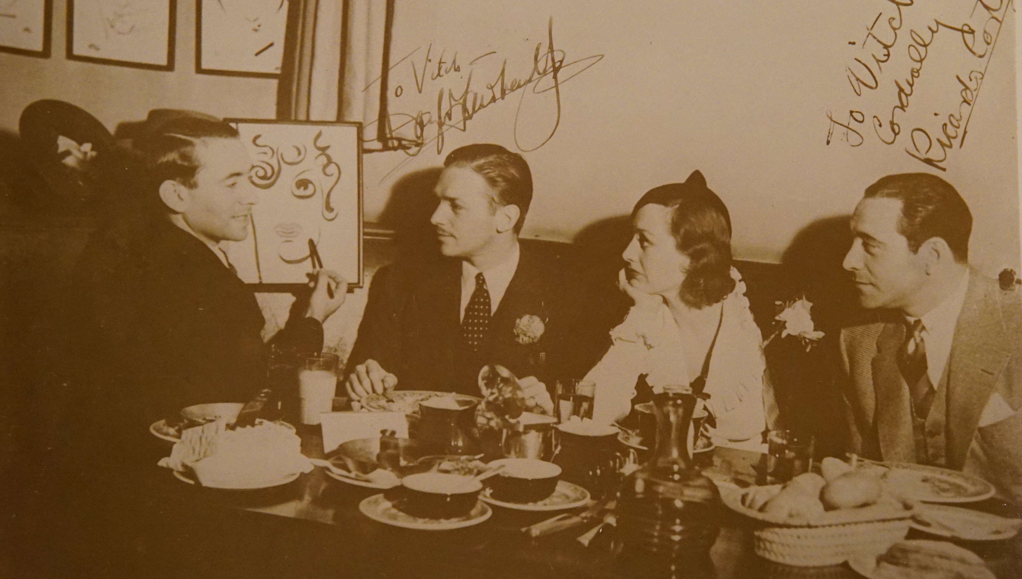Vitch at the Brown Derby with Joan Crowford, Douglas Fairbanks